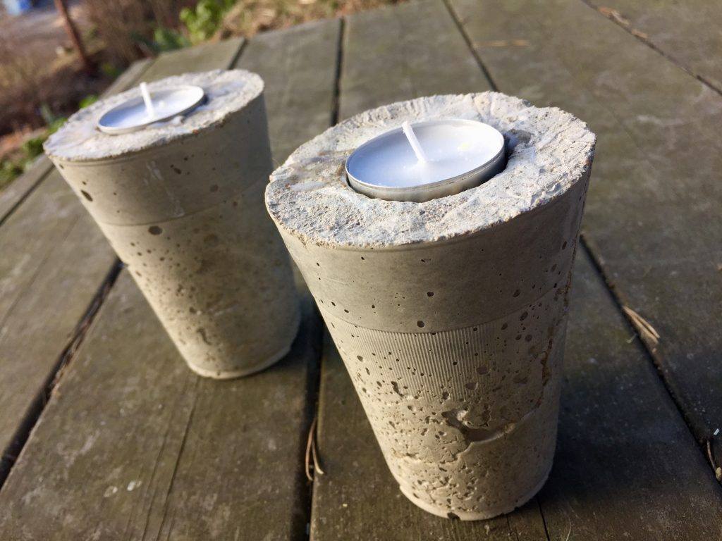 diy concrete tealight candle holders